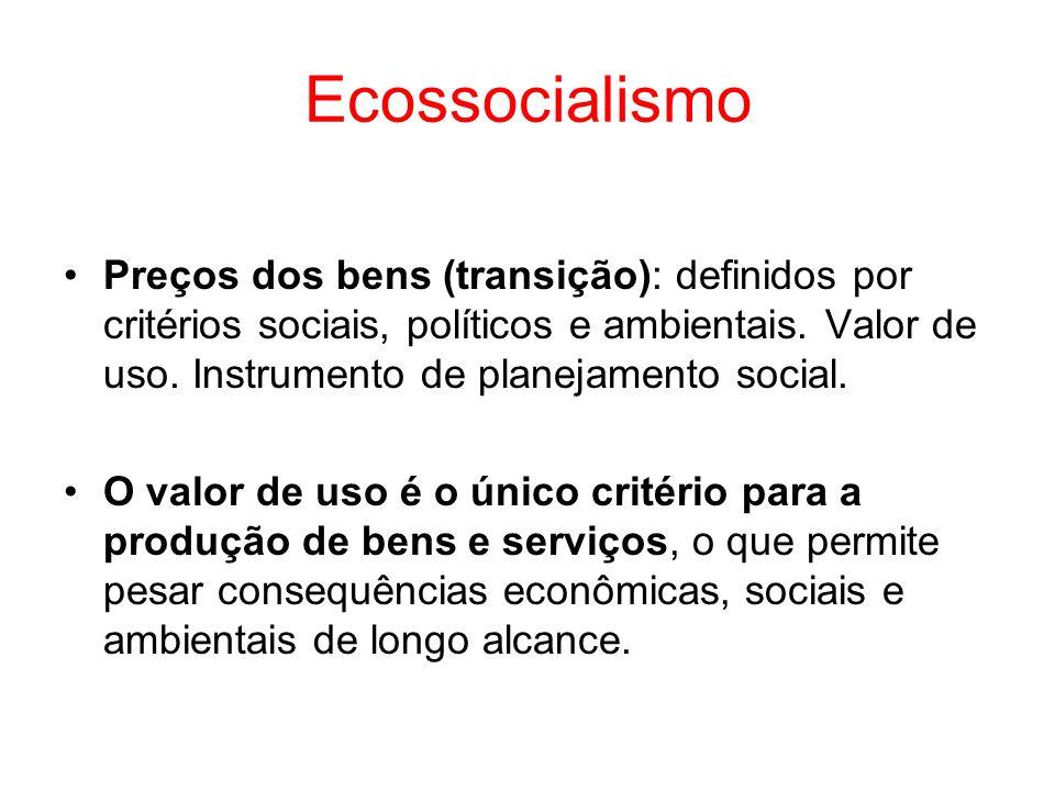 Ecossocialismo Preços dos bens (transição): definidos por critérios sociais, políticos e ambientais. Valor de uso. Instrumento de planejamento social.
