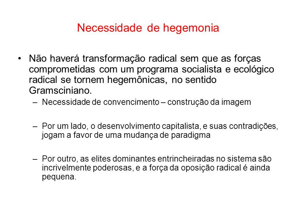 Necessidade de hegemonia Não haverá transformação radical sem que as forças comprometidas com um programa socialista e ecológico radical se tornem heg