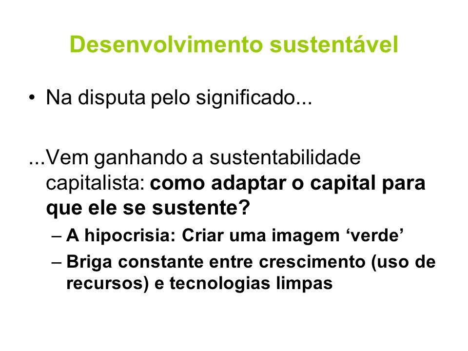 Desenvolvimento sustentável Na disputa pelo significado......Vem ganhando a sustentabilidade capitalista: como adaptar o capital para que ele se suste