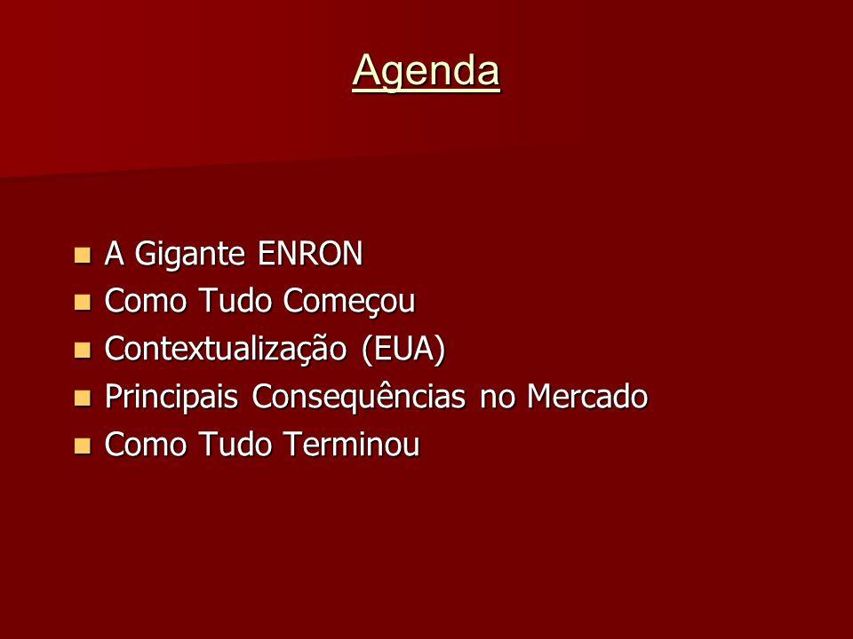 Agenda A Gigante ENRON A Gigante ENRON Como Tudo Começou Como Tudo Começou Contextualização (EUA) Contextualização (EUA) Principais Consequências no M