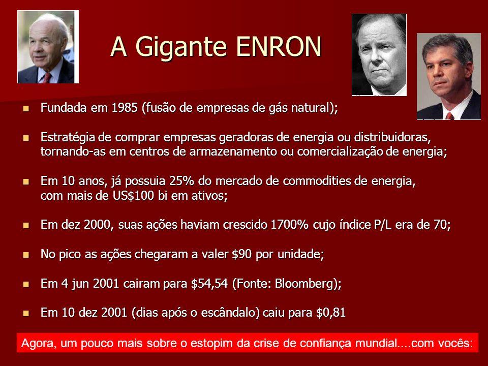 A Gigante ENRON Fundada em 1985 (fusão de empresas de gás natural); Fundada em 1985 (fusão de empresas de gás natural); Estratégia de comprar empresas