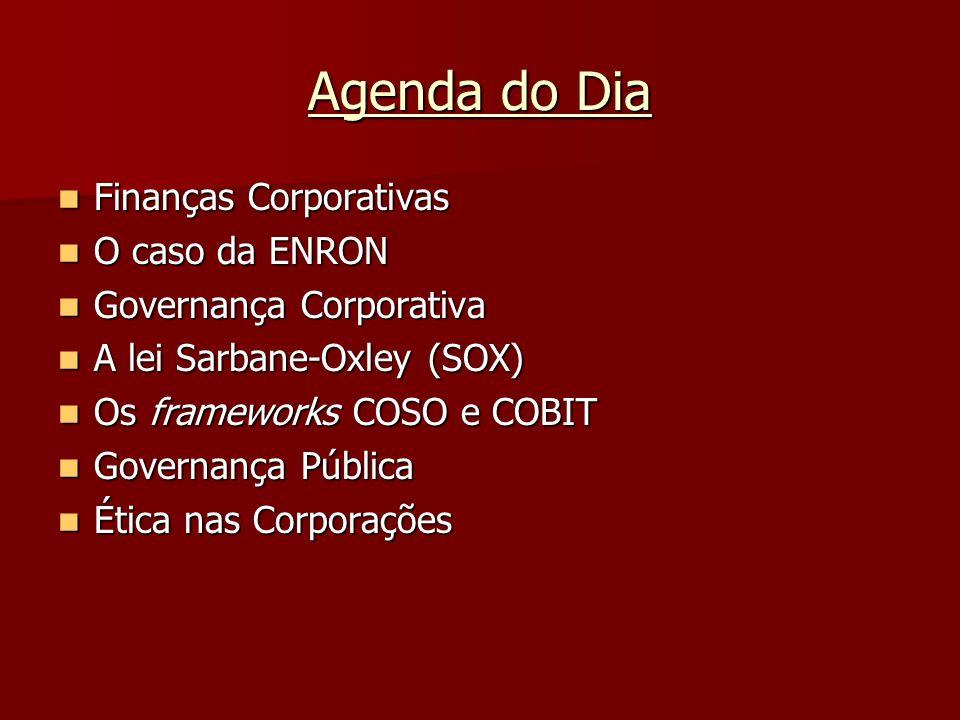 Agenda do Dia Finanças Corporativas Finanças Corporativas O caso da ENRON O caso da ENRON Governança Corporativa Governança Corporativa A lei Sarbane-