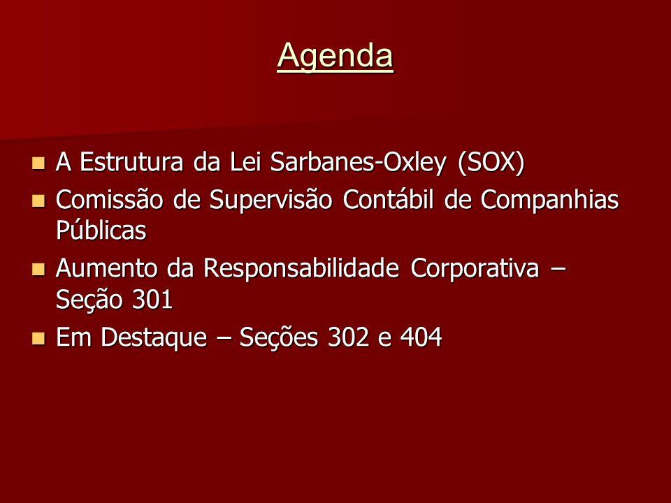 Agenda A Estrutura da Lei Sarbanes-Oxley (SOX) A Estrutura da Lei Sarbanes-Oxley (SOX) Comissão de Supervisão Contábil de Companhias Públicas Comissão