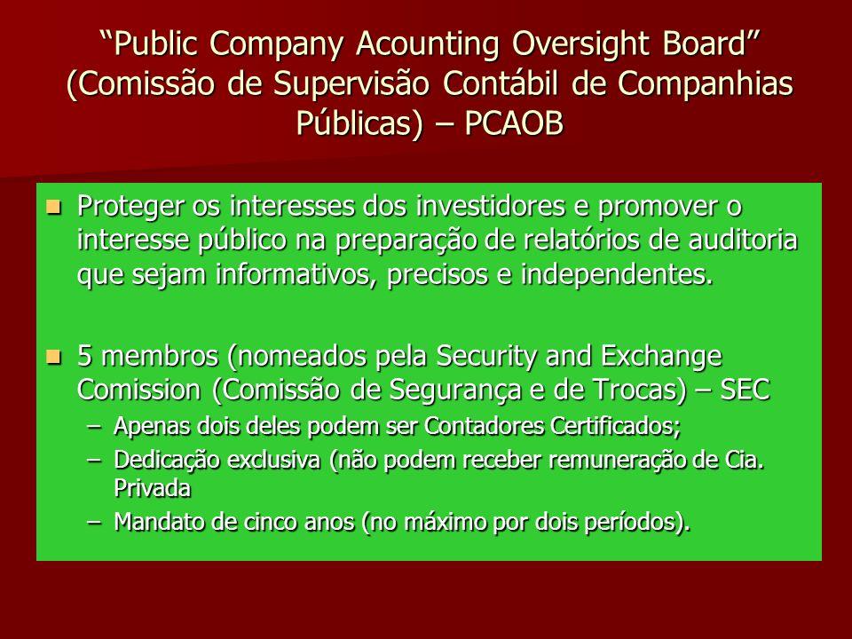 Public Company Acounting Oversight Board (Comissão de Supervisão Contábil de Companhias Públicas) – PCAOB Proteger os interesses dos investidores e pr