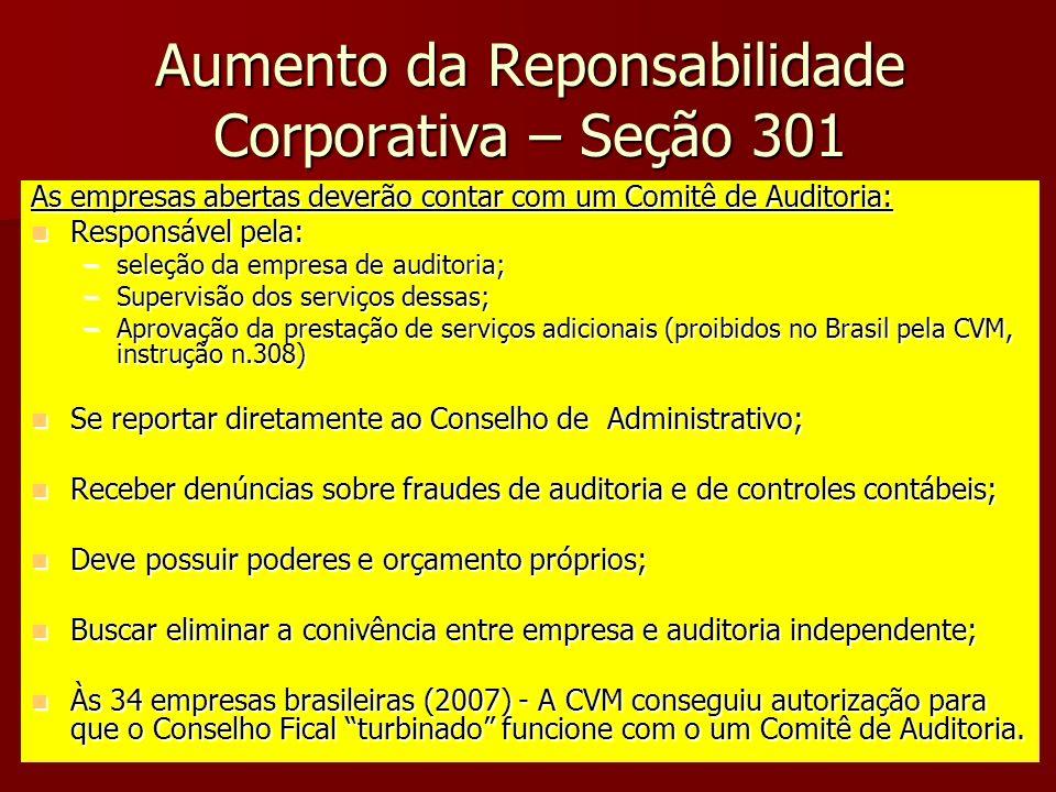 Aumento da Reponsabilidade Corporativa – Seção 301 As empresas abertas deverão contar com um Comitê de Auditoria: Responsável pela: Responsável pela: