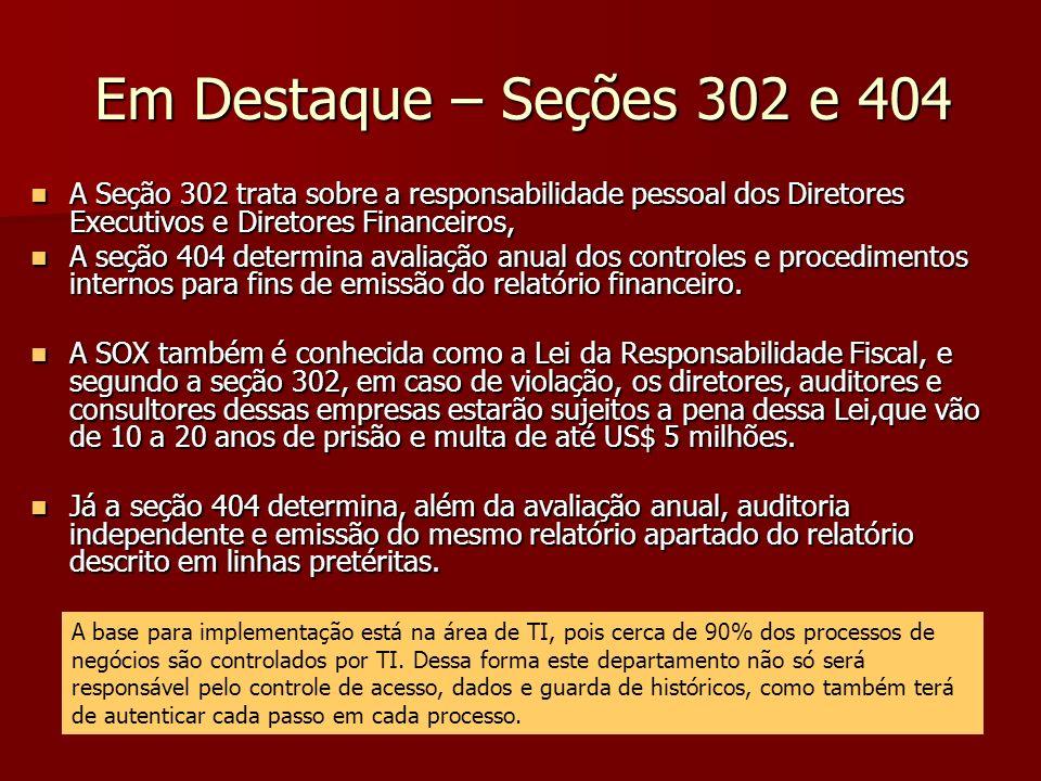 Em Destaque – Seções 302 e 404 A Seção 302 trata sobre a responsabilidade pessoal dos Diretores Executivos e Diretores Financeiros, A Seção 302 trata