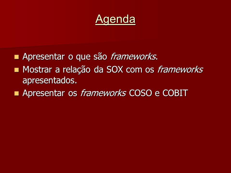 Agenda Apresentar o que são frameworks. Apresentar o que são frameworks. Mostrar a relação da SOX com os frameworks apresentados. Mostrar a relação da