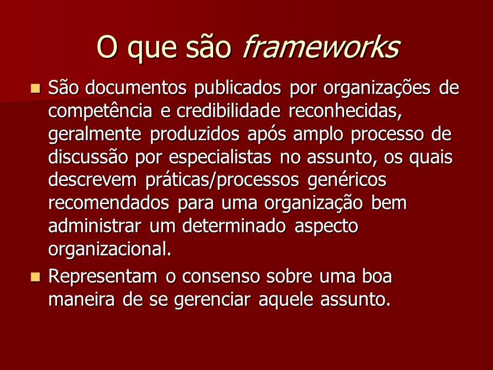O que são frameworks São documentos publicados por organizações de competência e credibilidade reconhecidas, geralmente produzidos após amplo processo