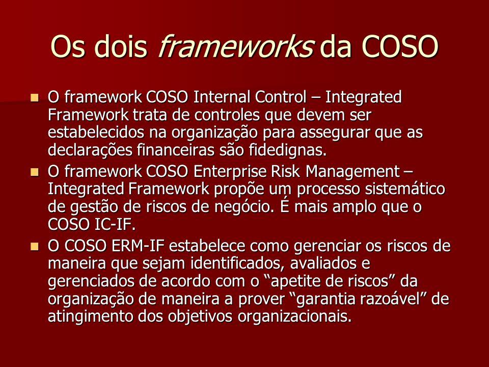 Os dois frameworks da COSO O framework COSO Internal Control – Integrated Framework trata de controles que devem ser estabelecidos na organização para