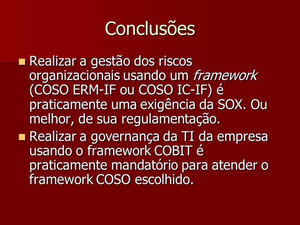 Conclusões Realizar a gestão dos riscos organizacionais usando um framework (COSO ERM-IF ou COSO IC-IF) é praticamente uma exigência da SOX. Ou melhor