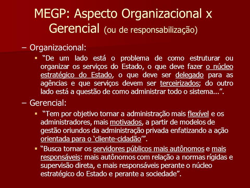 MEGP: Aspecto Organizacional x Gerencial (ou de responsabilização) – –Organizacional: De um lado está o problema de como estruturar ou organizar os se