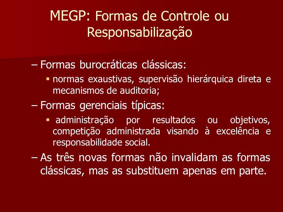 – –Formas burocráticas clássicas: normas exaustivas, supervisão hierárquica direta e mecanismos de auditoria; – –Formas gerenciais típicas: administra