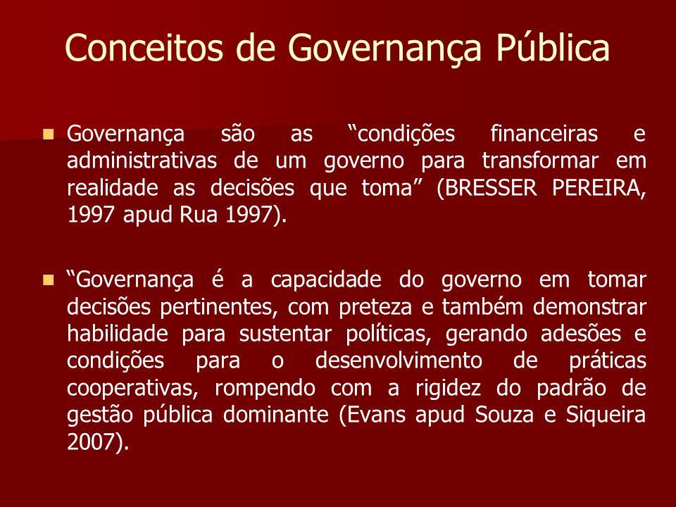 Conceitos de Governança Pública Governança são as condições financeiras e administrativas de um governo para transformar em realidade as decisões que