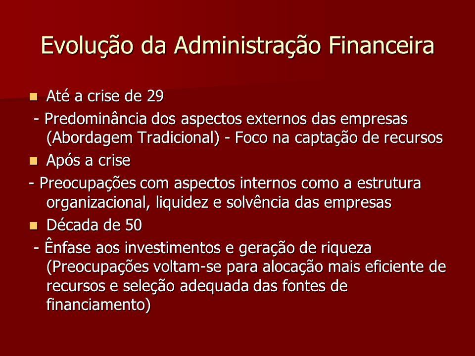 Evolução da Administração Financeira Até a crise de 29 Até a crise de 29 - Predominância dos aspectos externos das empresas (Abordagem Tradicional) -