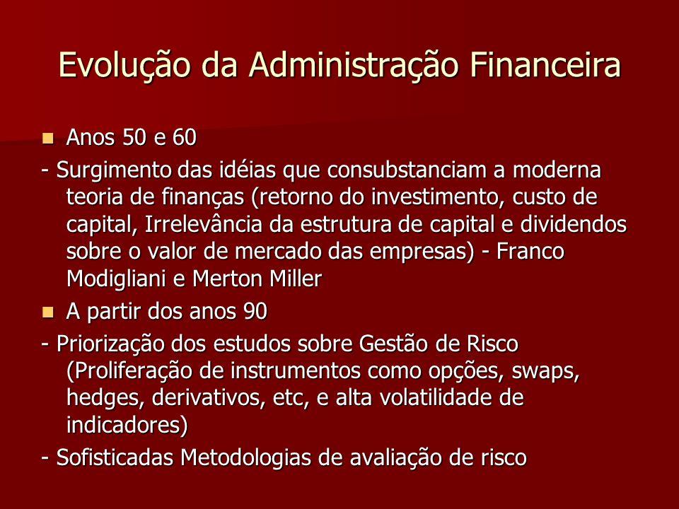 Evolução da Administração Financeira Anos 50 e 60 Anos 50 e 60 - Surgimento das idéias que consubstanciam a moderna teoria de finanças (retorno do inv