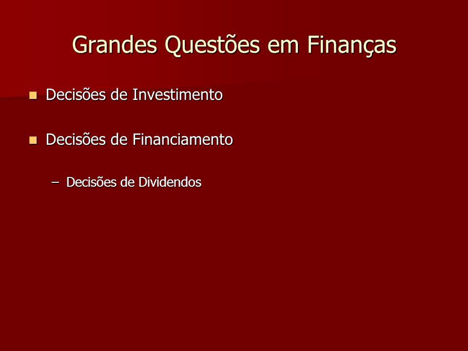 Grandes Questões em Finanças Decisões de Investimento Decisões de Investimento Decisões de Financiamento Decisões de Financiamento –Decisões de Divide