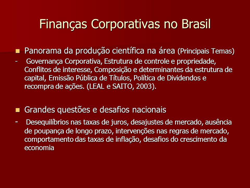 Finanças Corporativas no Brasil Panorama da produção científica na área (Principais Temas) Panorama da produção científica na área (Principais Temas)