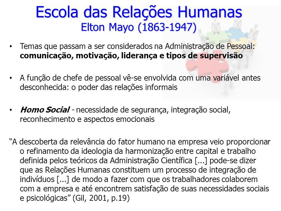 Escola das Relações Humanas Elton Mayo (1863-1947) Temas que passam a ser considerados na Administração de Pessoal: comunicação, motivação, liderança