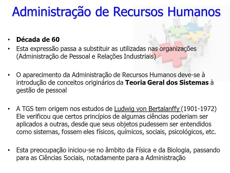 Administração de Recursos Humanos Década de 60 Esta expressão passa a substituir as utilizadas nas organizações (Administração de Pessoal e Relações I