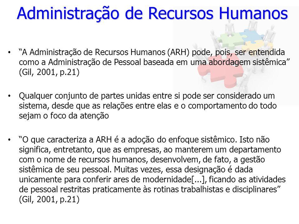 Administração de Recursos Humanos A Administração de Recursos Humanos (ARH) pode, pois, ser entendida como a Administração de Pessoal baseada em uma a