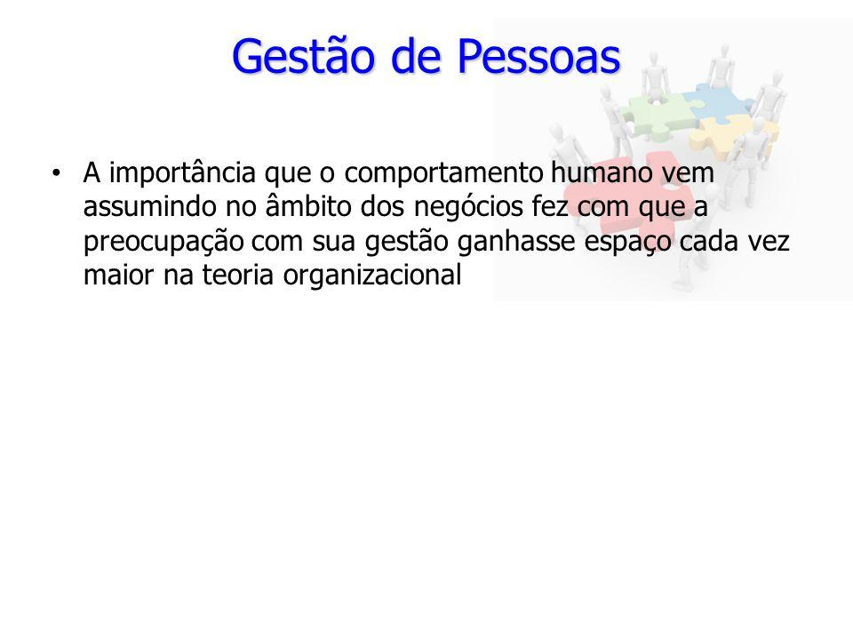 Gestão de Pessoas A importância que o comportamento humano vem assumindo no âmbito dos negócios fez com que a preocupação com sua gestão ganhasse espa