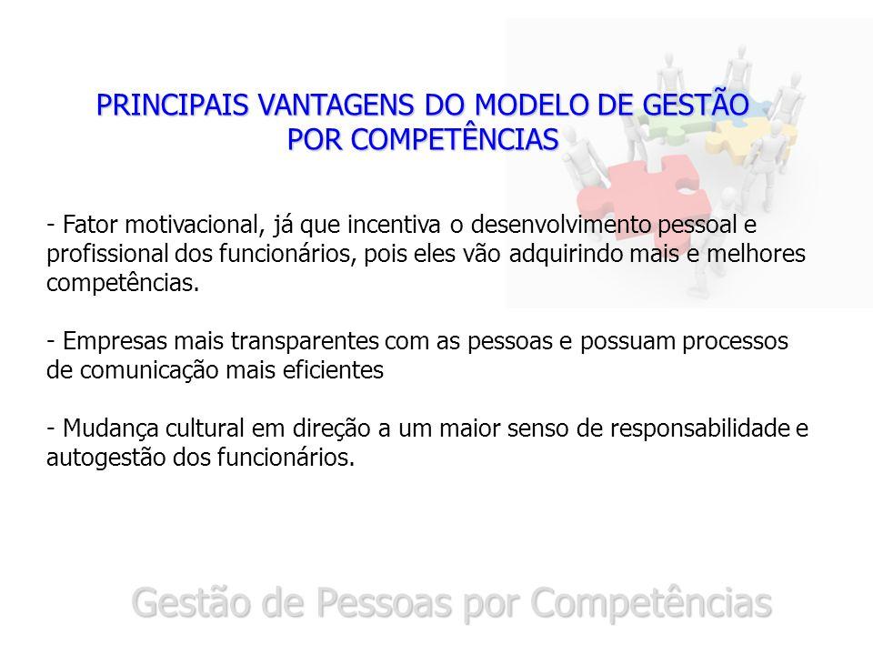 Gestão de Pessoas por Competências PRINCIPAIS VANTAGENS DO MODELO DE GESTÃO POR COMPETÊNCIAS - Fator motivacional, já que incentiva o desenvolvimento