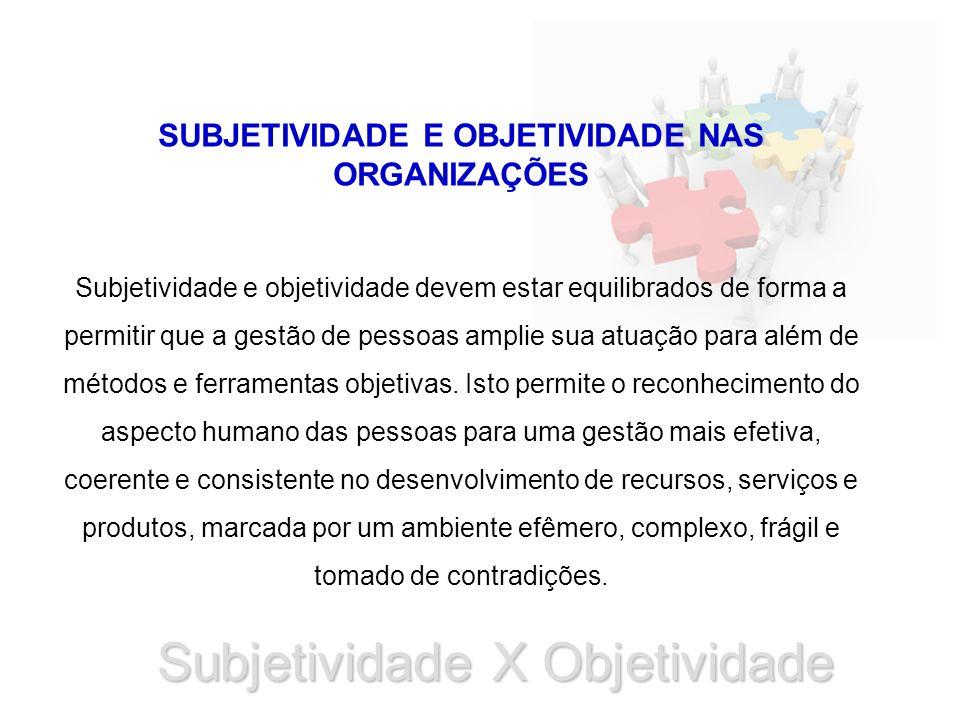 Subjetividade X Objetividade SUBJETIVIDADE E OBJETIVIDADE NAS ORGANIZAÇÕES Subjetividade e objetividade devem estar equilibrados de forma a permitir q