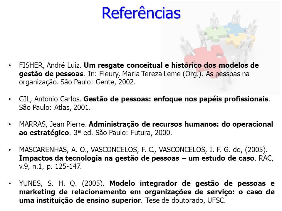 Referências FISHER, André Luiz. Um resgate conceitual e histórico dos modelos de gestão de pessoas. In: Fleury, Maria Tereza Leme (Org.). As pessoas n