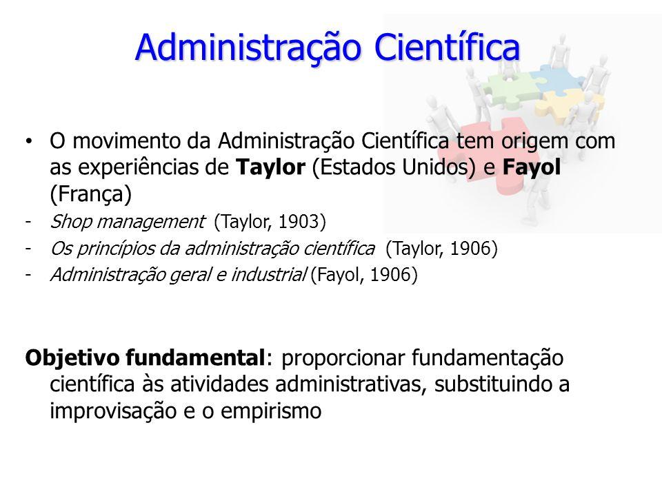 Administração Científica O movimento da Administração Científica tem origem com as experiências de Taylor (Estados Unidos) e Fayol (França) -Shop mana