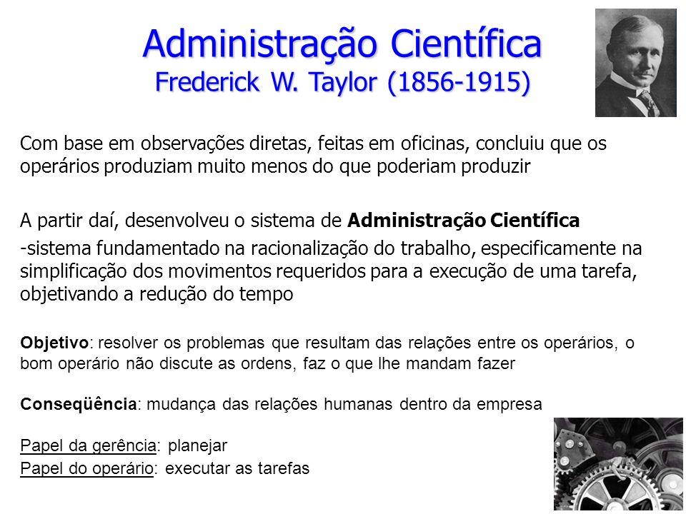 Administração Científica Frederick W. Taylor (1856-1915) Com base em observações diretas, feitas em oficinas, concluiu que os operários produziam muit
