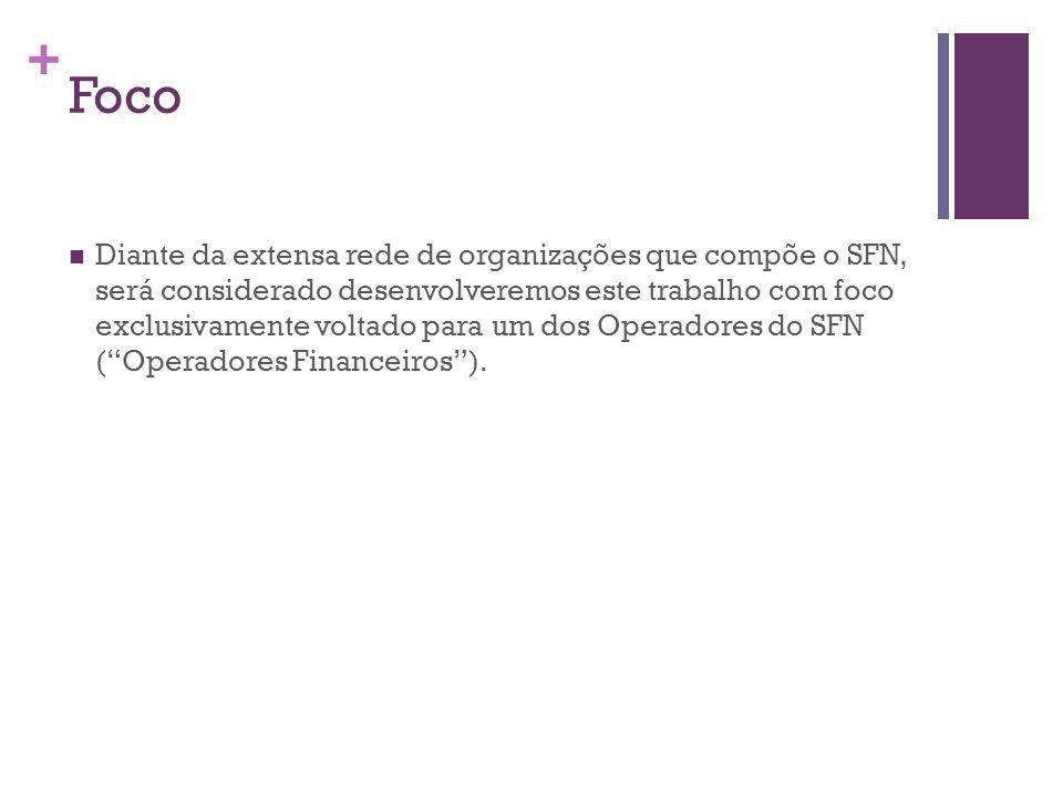 + Foco Diante da extensa rede de organizações que compõe o SFN, será considerado desenvolveremos este trabalho com foco exclusivamente voltado para um dos Operadores do SFN (Operadores Financeiros).
