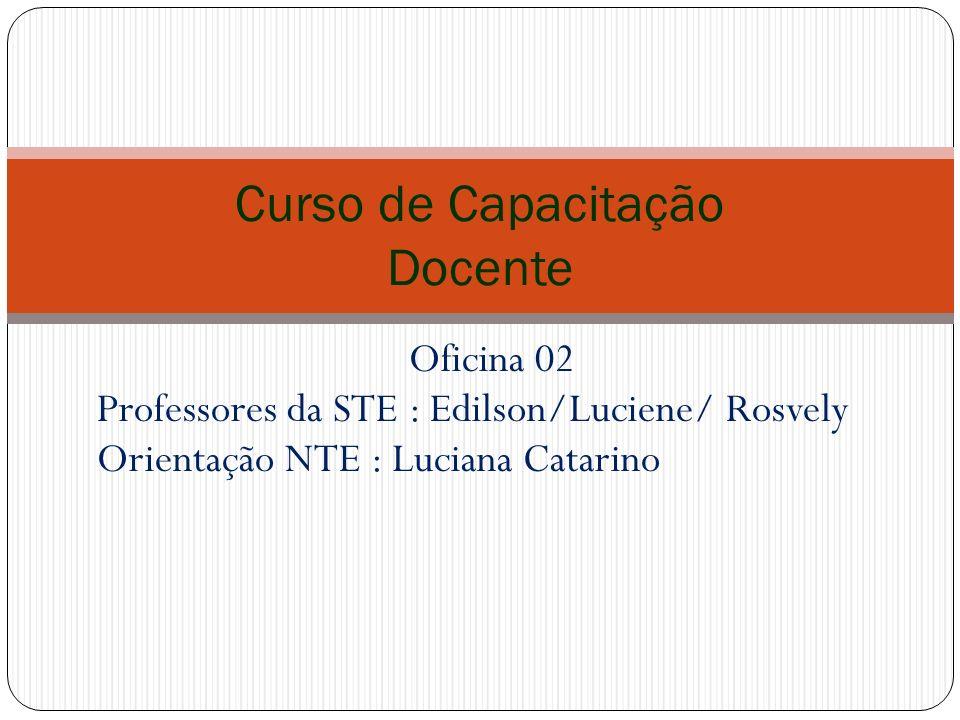 Oficina 02 Professores da STE : Edilson/Luciene/ Rosvely Orientação NTE : Luciana Catarino Curso de Capacitação Docente