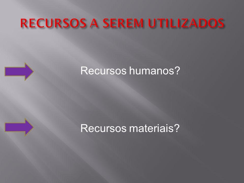 Recursos humanos Recursos materiais