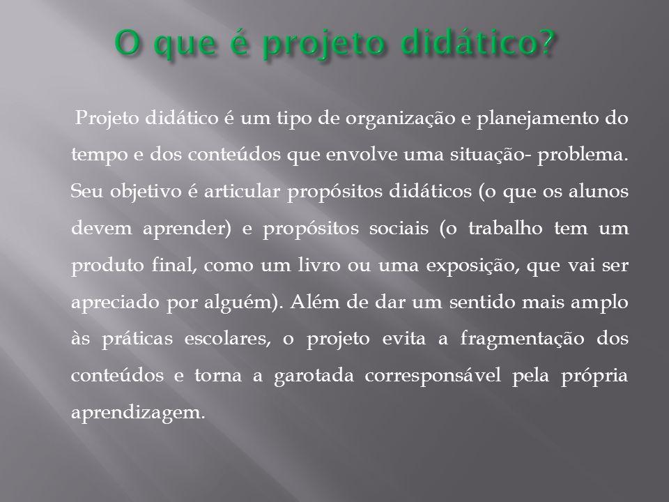 Projeto didático é um tipo de organização e planejamento do tempo e dos conteúdos que envolve uma situação- problema.