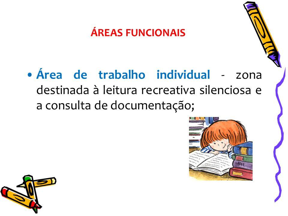Área de trabalho individual - zona destinada à leitura recreativa silenciosa e a consulta de documentação; ÁREAS FUNCIONAIS
