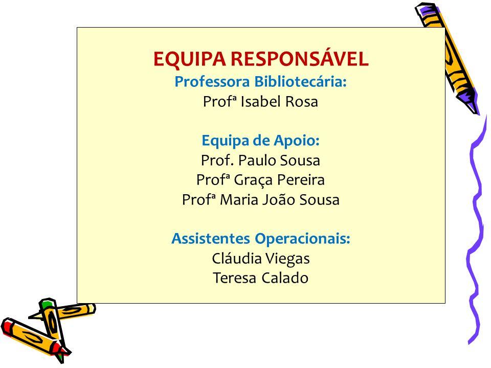 EQUIPA RESPONSÁVEL Professora Bibliotecária: Profª Isabel Rosa Equipa de Apoio: Prof.