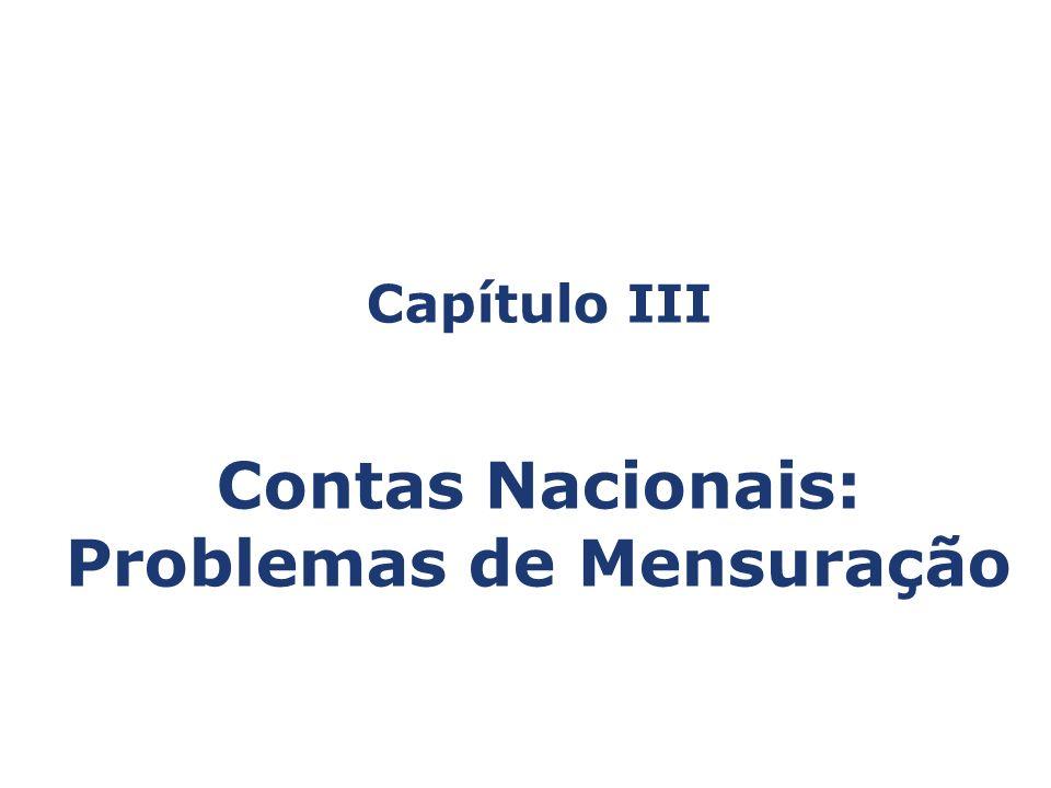 Capítulo III Contas Nacionais: Problemas de Mensuração