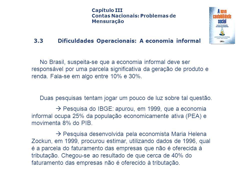 3.3 Dificuldades Operacionais: A economia informal Capa da Obra Capítulo III Contas Nacionais: Problemas de Mensuração No Brasil, suspeita-se que a ec