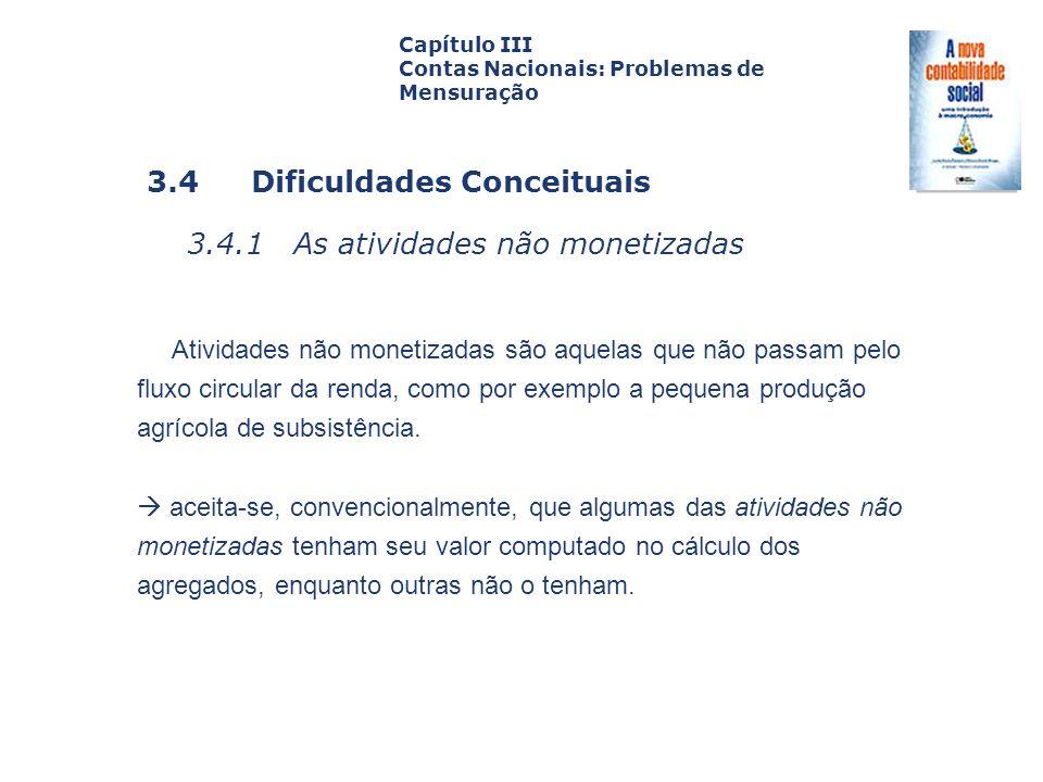 3.4 Dificuldades Conceituais 3.4.1 As atividades não monetizadas Capa da Obra Capítulo III Contas Nacionais: Problemas de Mensuração Atividades não mo