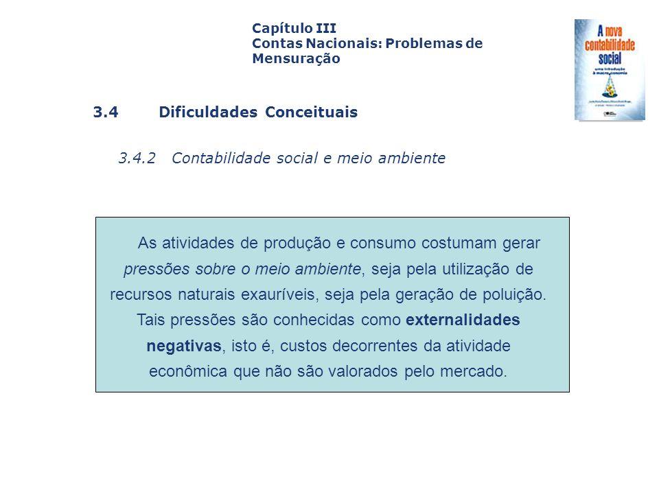 3.4 Dificuldades Conceituais 3.4.2 Contabilidade social e meio ambiente Capa da Obra Capítulo III Contas Nacionais: Problemas de Mensuração As ativida