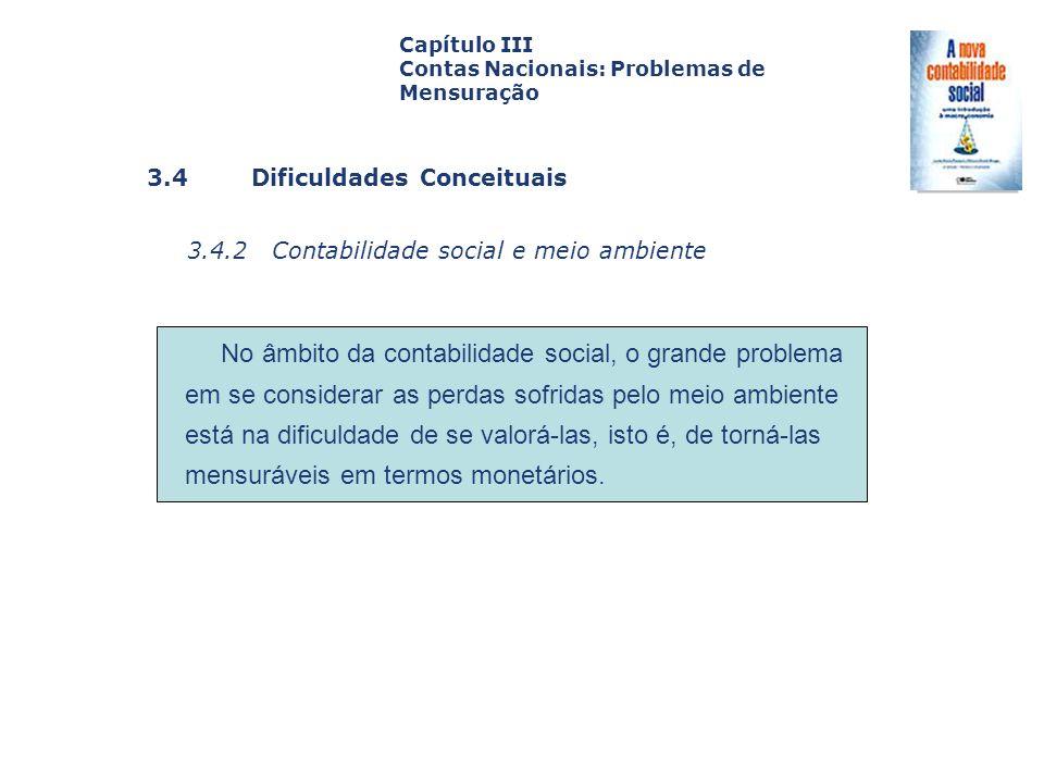 3.4 Dificuldades Conceituais 3.4.2 Contabilidade social e meio ambiente Capa da Obra Capítulo III Contas Nacionais: Problemas de Mensuração No âmbito