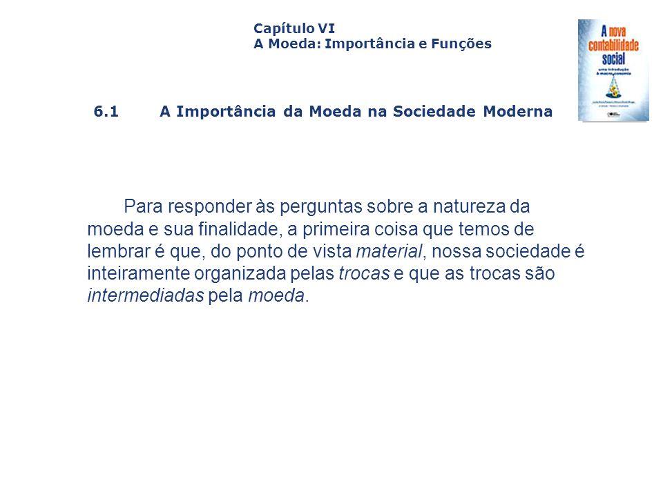 6.1 A Importância da Moeda na Sociedade Moderna Capa da Obra Capítulo VI A Moeda: Importância e Funções Para responder às perguntas sobre a natureza d