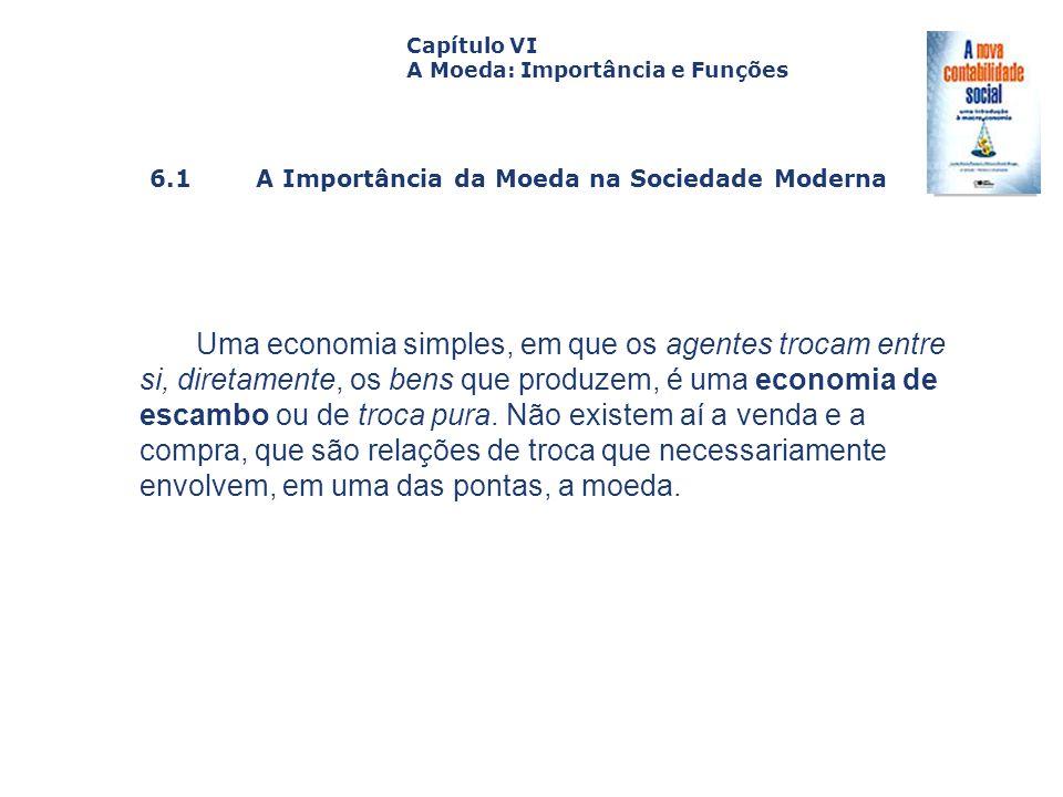 6.1 A Importância da Moeda na Sociedade Moderna Capa da Obra Capítulo VI A Moeda: Importância e Funções Uma economia simples, em que os agentes trocam