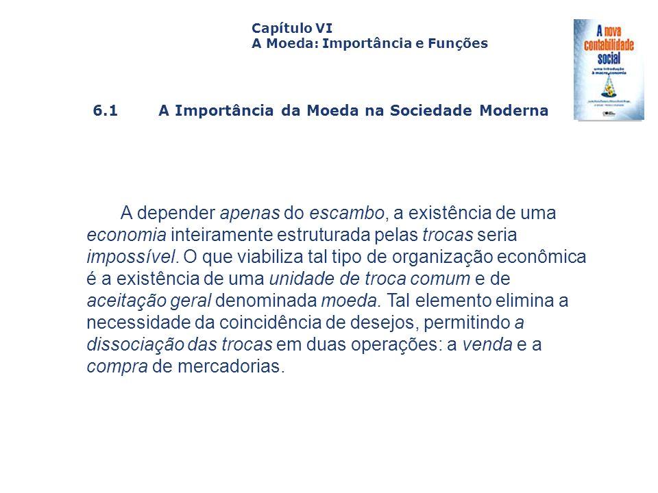 6.1 A Importância da Moeda na Sociedade Moderna Capa da Obra Capítulo VI A Moeda: Importância e Funções A depender apenas do escambo, a existência de