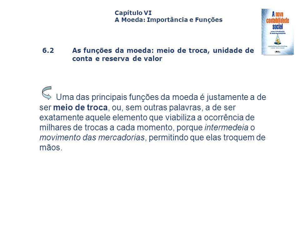 6.2 As funções da moeda: meio de troca, unidade de conta e reserva de valor Capa da Obra Capítulo VI A Moeda: Importância e Funções Uma das principais