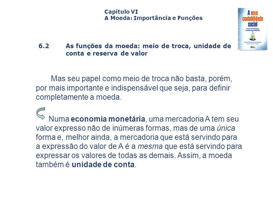6.2 As funções da moeda: meio de troca, unidade de conta e reserva de valor Capa da Obra Capítulo VI A Moeda: Importância e Funções Mas seu papel como