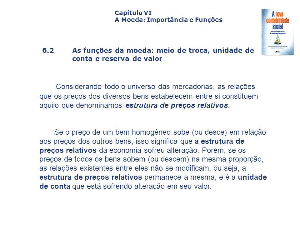 6.2 As funções da moeda: meio de troca, unidade de conta e reserva de valor Capa da Obra Capítulo VI A Moeda: Importância e Funções Considerando todo