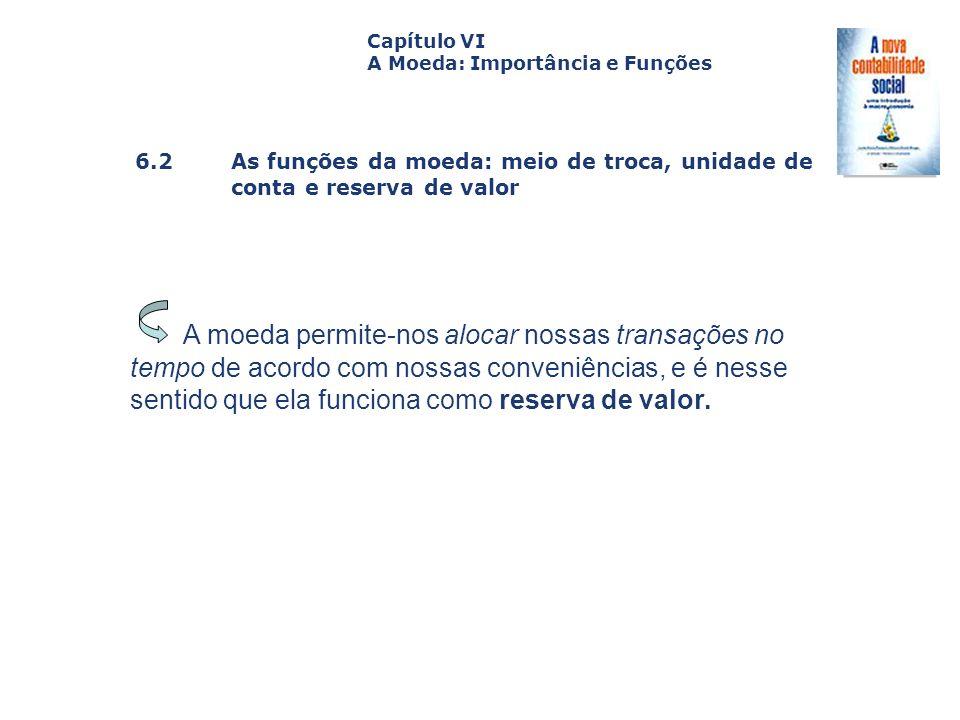 6.2 As funções da moeda: meio de troca, unidade de conta e reserva de valor Capa da Obra Capítulo VI A Moeda: Importância e Funções A moeda permite-no