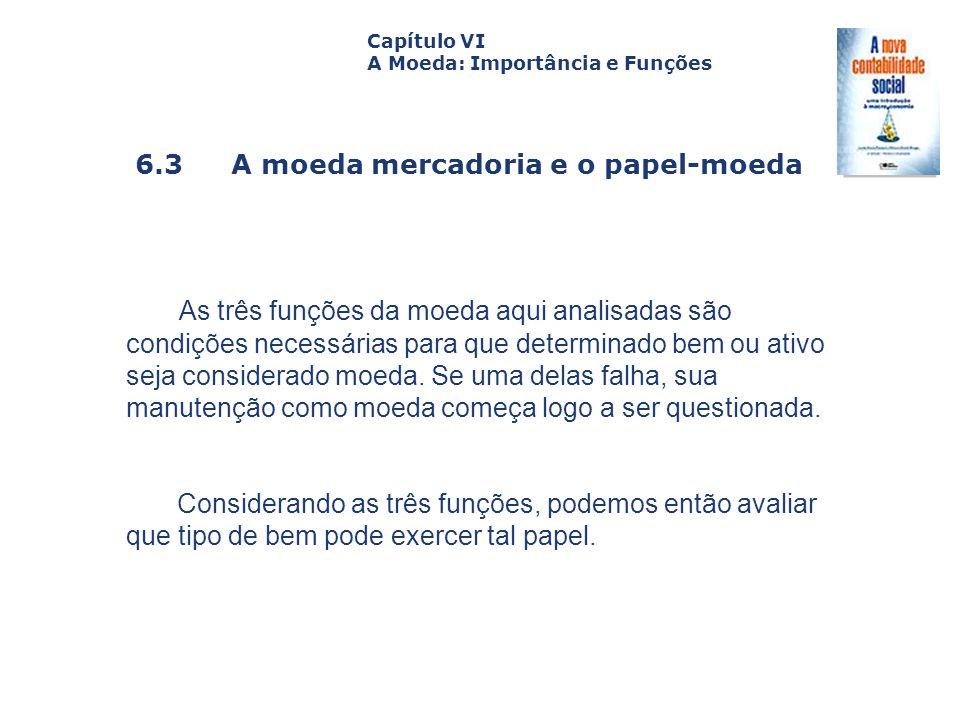 6.3 A moeda mercadoria e o papel-moeda Capa da Obra Capítulo VI A Moeda: Importância e Funções As três funções da moeda aqui analisadas são condições