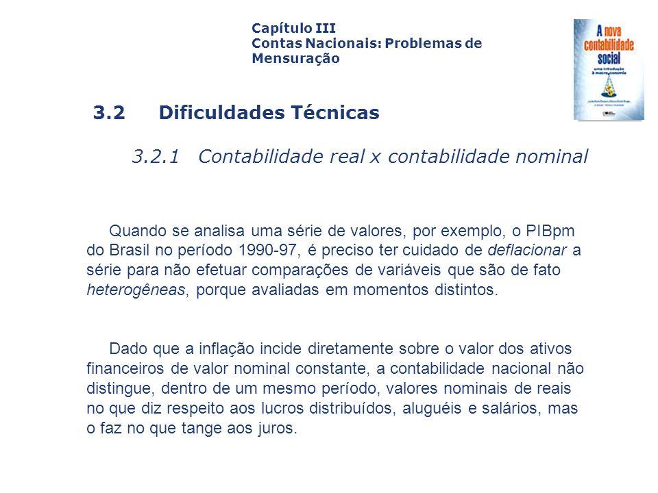 3.2 Dificuldades Técnicas 3.2.1 Contabilidade real x contabilidade nominal Capa da Obra Capítulo III Contas Nacionais: Problemas de Mensuração Quando